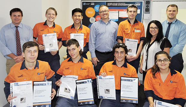 Century Engineer PTECH 2017 participants with Andrew Sinclair upon receiving their welding certificates.