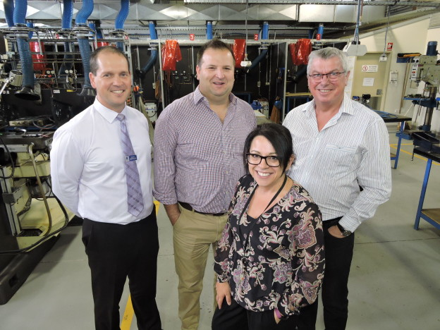 Pictured from left is St Patrick's Technical College Principal Danny Deptula with Northern Economic Plan Director Laki Kondylas and Chairman Steve Ludlam and College Industry Partnerships Manager Toni Hartley on a tour of the school's Metals and Engineering workshop.