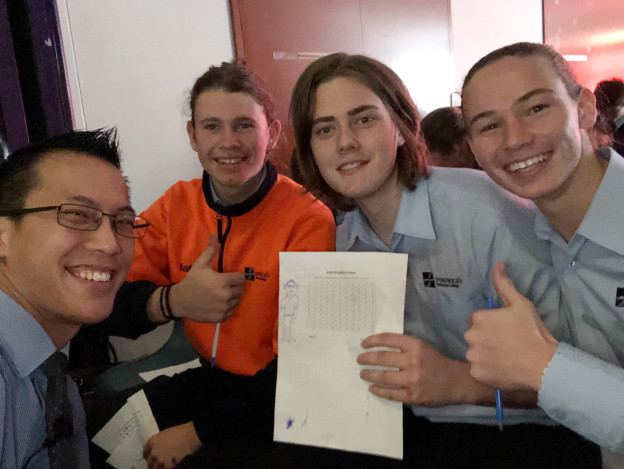 Hamish Todd, Conor Gray, Tyler Carroll attend the Eddie Woo talk at Golden Grove High School on Monday, June 25 2018