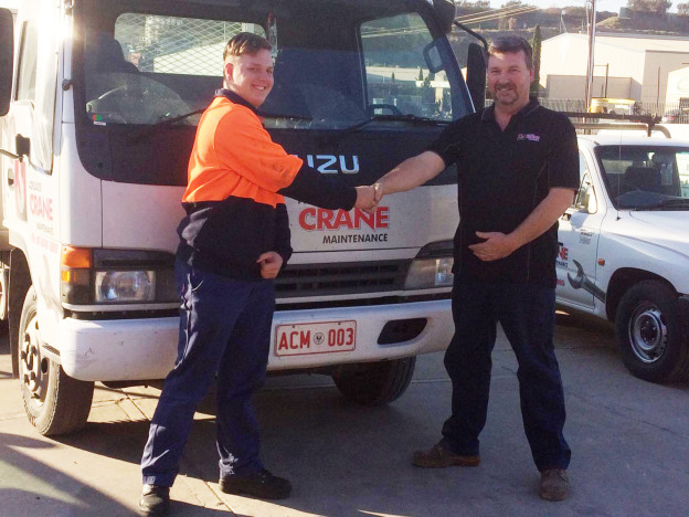 Jerome Cook with Heath Lithgow from Adelaide Crane Maintenance. Jerome was signed up to a School based Apprenticeship. He is studying a Certificate III in Heavy Vehicle Mechanical Technology