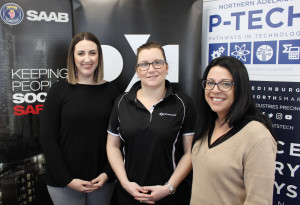 Leanne Jarvis from DXC Technology (centre) speaks with Rebecca Giovine from Saab Australia and SAF's Toni Hartley.